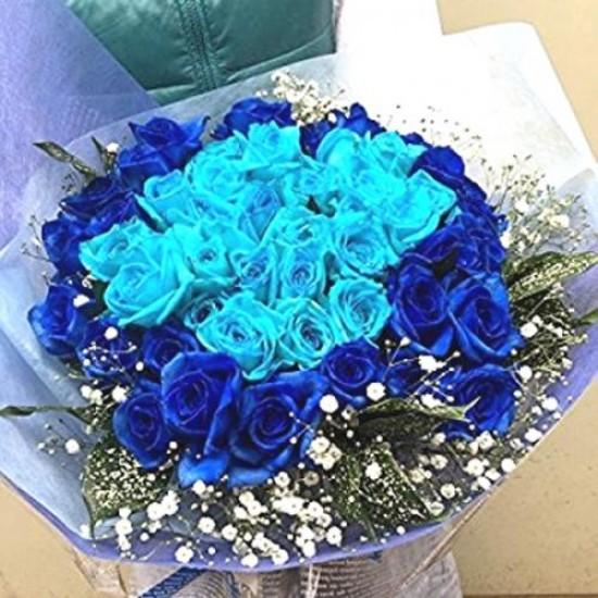 Buque de Rosas Azuis 2 Tons