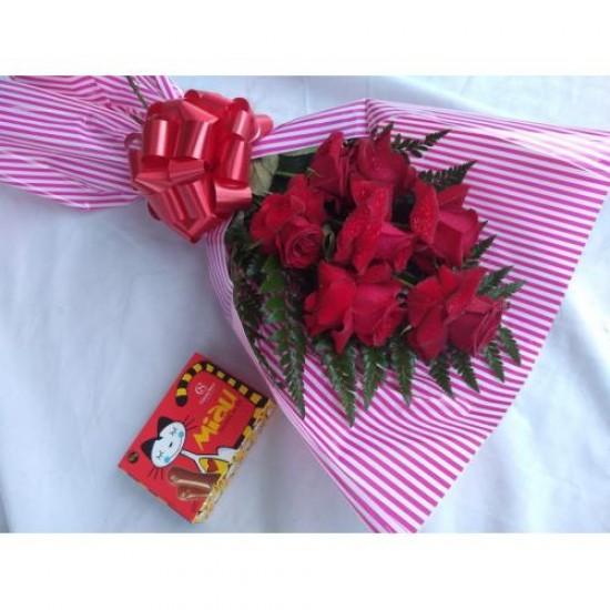 Buque 6 Rosas E Chocolate Cacau Show
